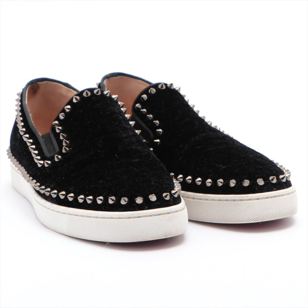 Christian Louboutin Velor Slip-On 41 Men's Black Studs