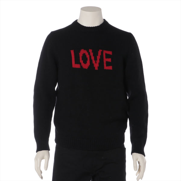 Fendi 17 Years Wool Knit 48 Mens Black LOVE Logo|RANK:AB