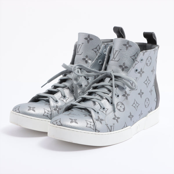 Louis Vuitton Match Up Plat Inn FD1127 PVC High Top Sneakers 8 1/2 Men's Silver Monogram