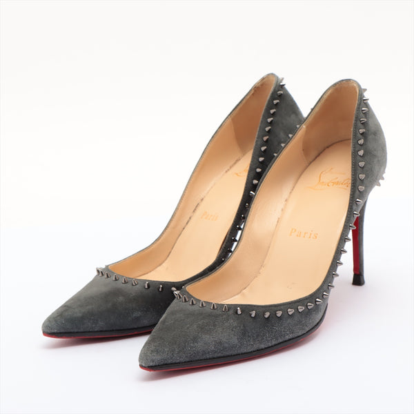 Christian Louboutin Suede Pumps 36 Ladies Gray Pike Studs Sole Repair|RANK:B