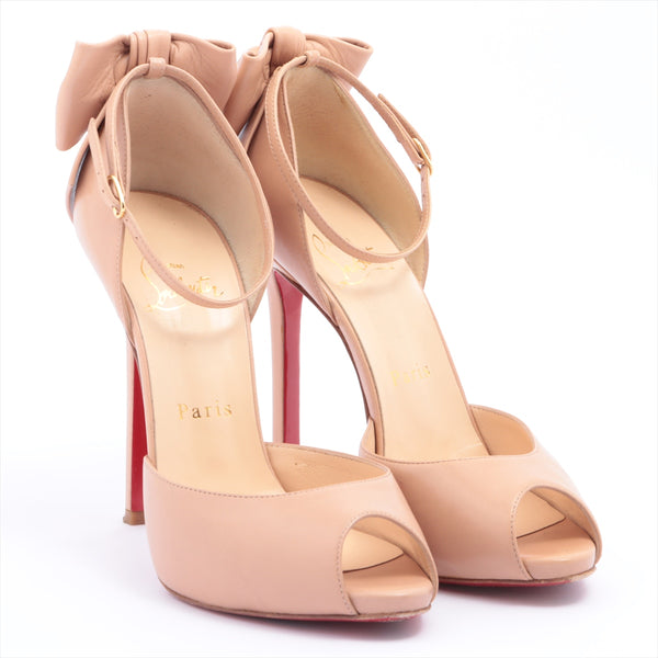 Christian Louboutin Leather Open Toe Pumps 36 1/2 Ladies Pink Beige Ribbon DOS NOEUD 120