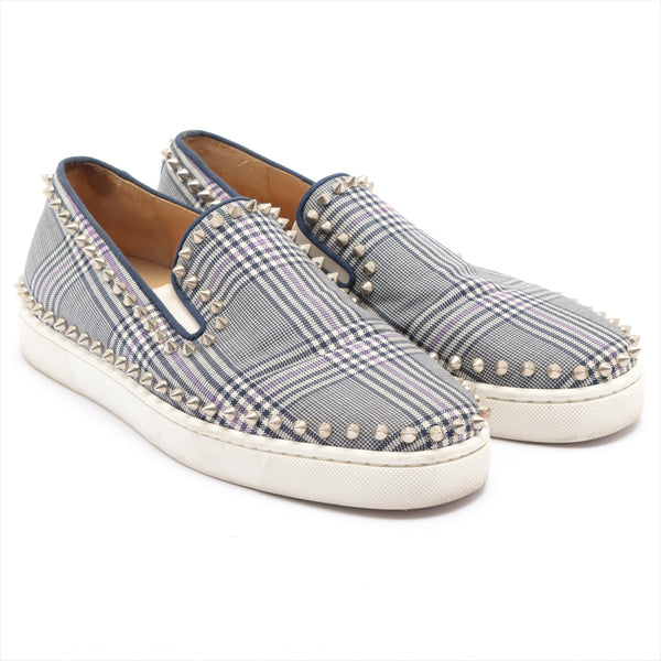 Christian Louboutin Canvas Slip-On 41 Men's Gray x Navy Studs