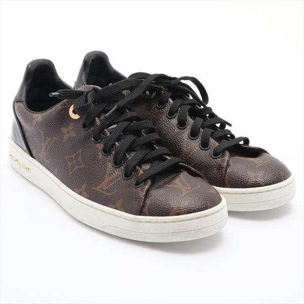 Louis Vuitton Front Row MS0177 Leather Sneakers 36.5 Men's Brown Monogram
