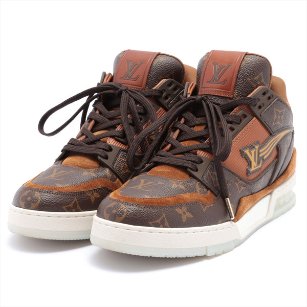Louis Vuitton LV Trainer Line GO0260 Leather High Top Sneakers 8 Mens Brown