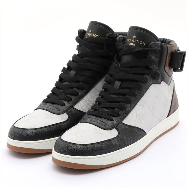 Louis Vuitton Rivoli Line MS0188 PVC High Top Sneakers 10 Mens Black x White Monogram