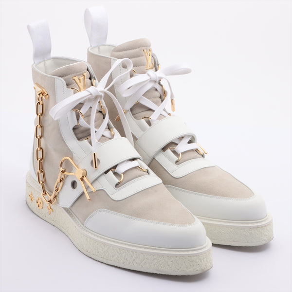 Louis Vuitton BM1118 Leather x Suede High Top Sneakers 7.5 Mens White Chain