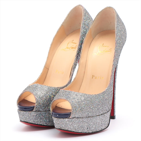 Christian Louboutin Glitter Open Toe Pumps 35 1/2 Ladies Multicolor