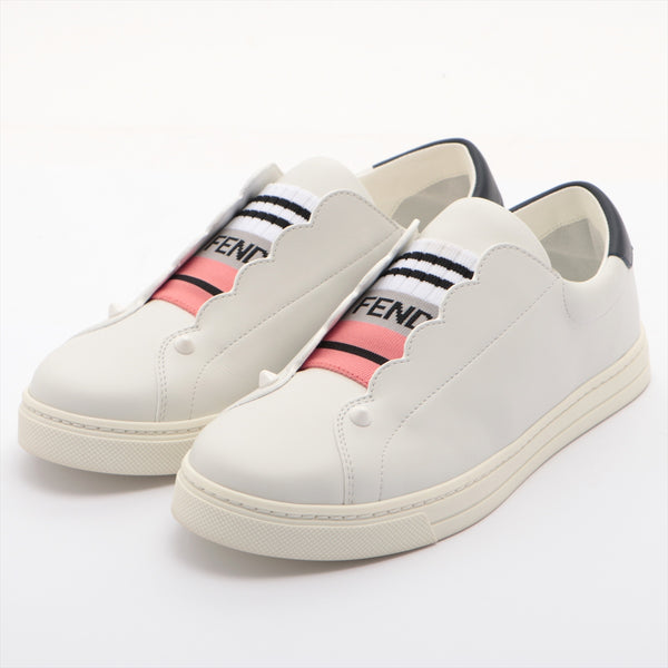 Fendi Leather Slip-On 36 Women's White Studs Logo|RANK:AB