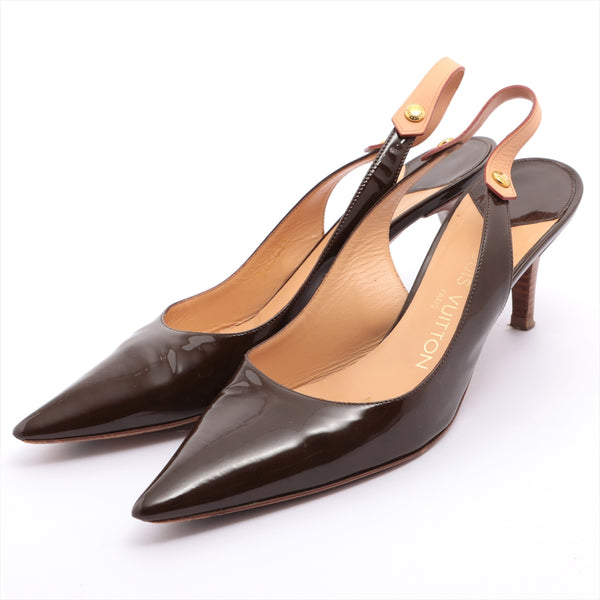 Louis Vuitton B01013 Patent Leather Pumps 37 Ladies Brown Patents with Stickiness