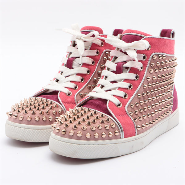 Christian Louboutin Lewis Spike Suede High Top Sneakers 35 Ladies Pink