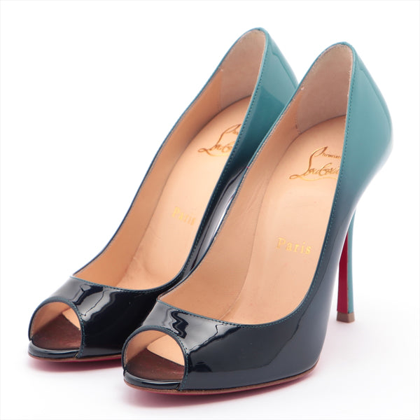 Christian Louboutin Patent Leather Open Toe Pumps 36.5 Ladies Blue|RANK:A