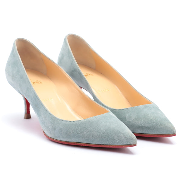 Christian Louboutin Suede Pumps 37 Ladies Blue Sole Repaired