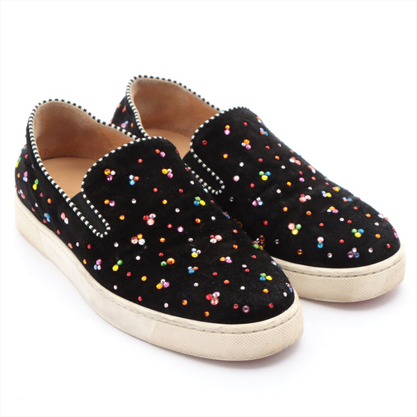 Christian Louboutin Velor Slip-On 37 Ladies Black Bijou