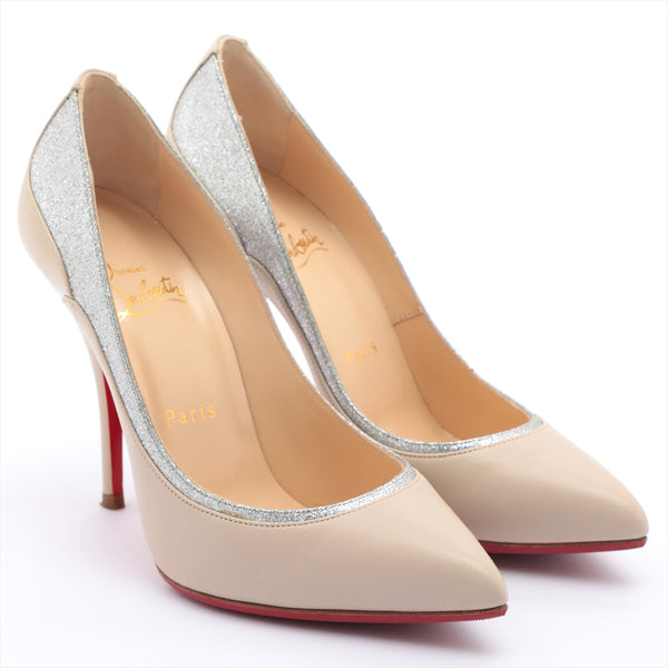 Christian Louboutin Leather Pumps 36.5 Ladies Beige Glitter Half Rubber Available
