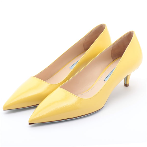 PRADA Leather Pumps 36.5 Women's Yellow Outsole with Initial Metal