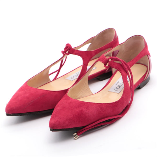 Jimmy Choo Suede Flat Pumps 35.5 Ladies Red Half Rubber Available|RANK:B