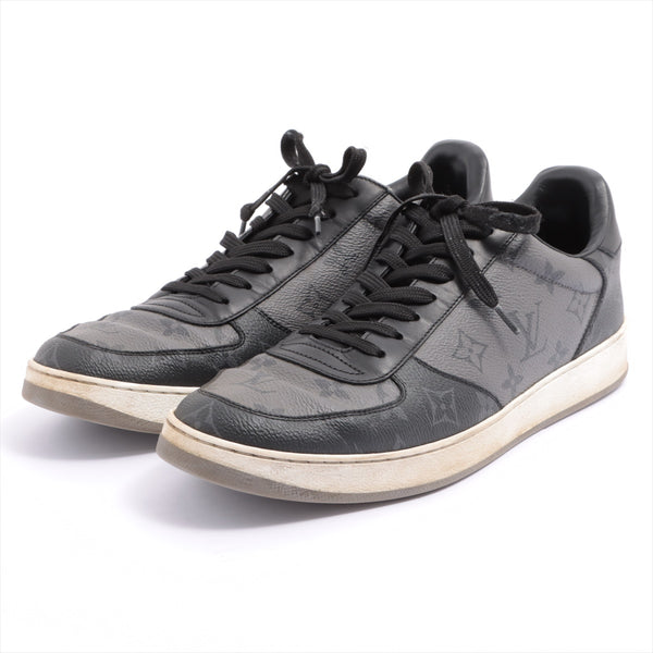Louis Vuitton Rivoli Line PVC x Leather Sneakers 7.5 Mens Black x Gray Monogram MS0270