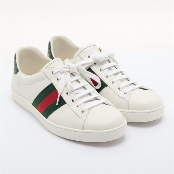 Gucci Leather Sneakers 8C Men's White Sherry Line|RANK:B