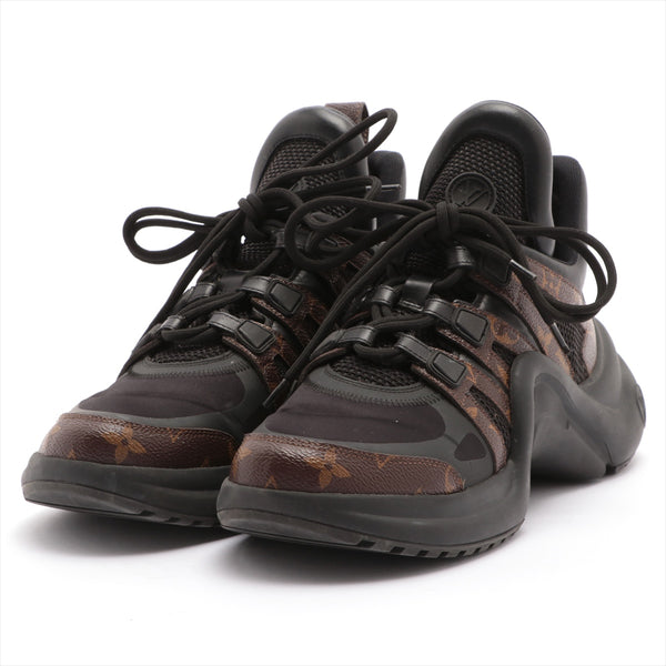 Louis Vuitton LV Arclight Line GO0188 Mesh x Leather Sneakers 39.5 Men's Black|RANK:B