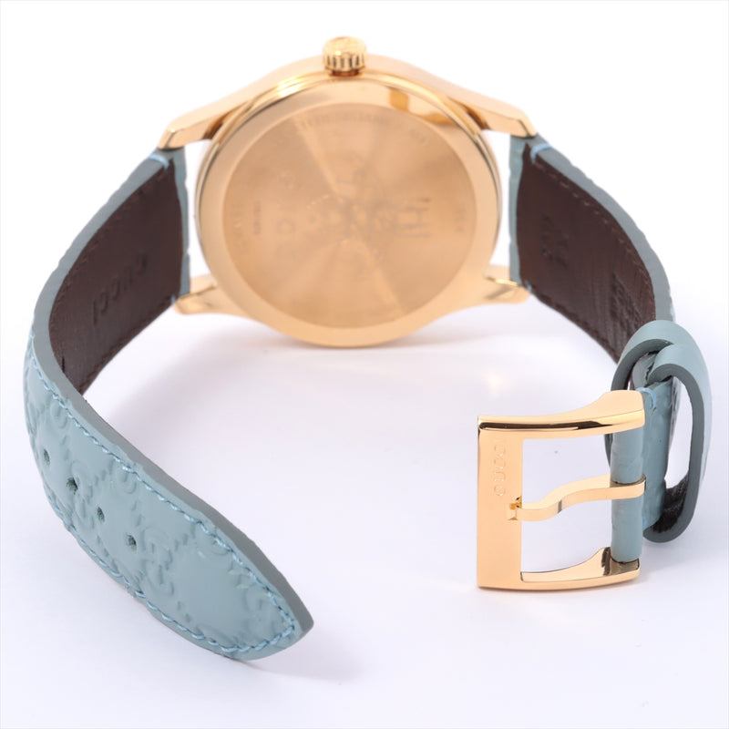 Gucci G Timeless 126.4 Gold Platedx Leather QZ Blue Dial