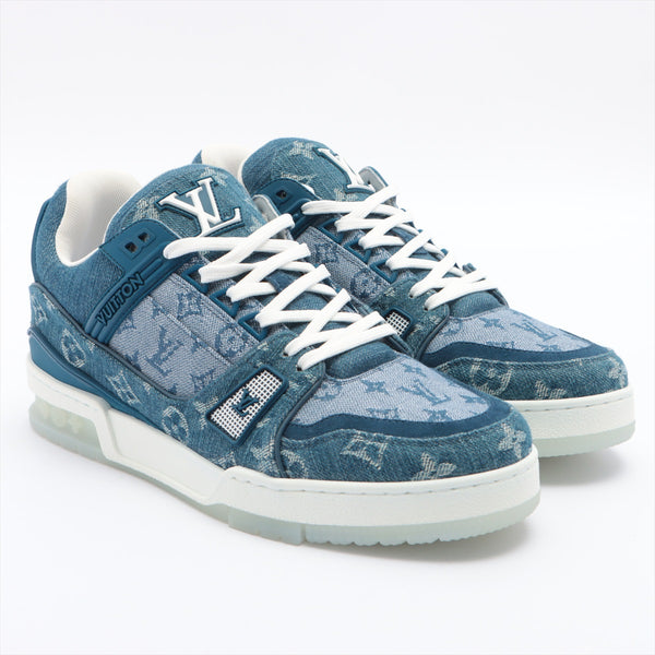 Louis Vuitton LV Trainer Line MS0210 Denim Sneakers 6 Men's Blue Monogram Denim|RANK:A