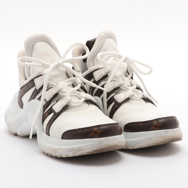 Louis Vuitton LV Arclight Line CL0149 Mesh x Leather Sneakers 36 Ladies White Monogram|RANK:B