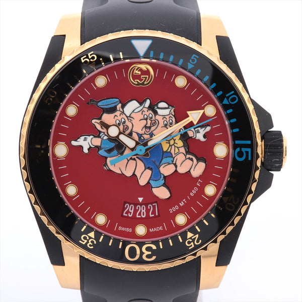 Gucci Dive Disney Collaboration China Year Limited Model YA136325 136.3 Gold Platedx Rubber QZ Red Dial