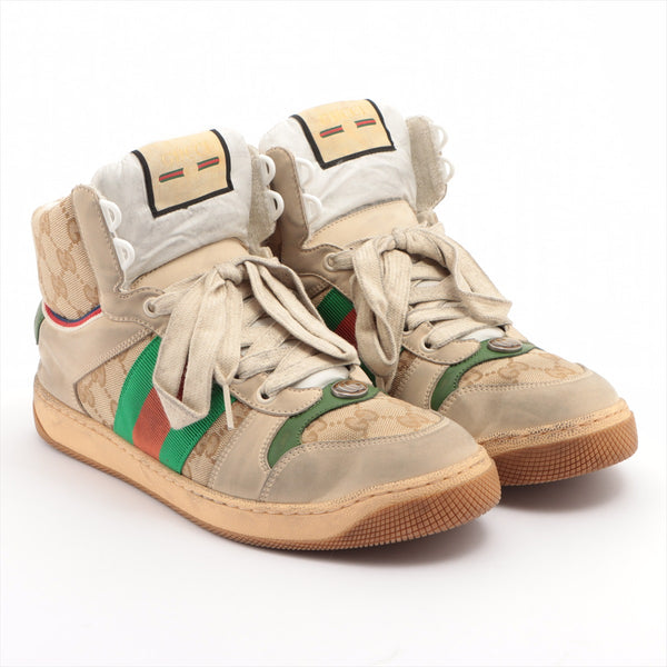 Gucci canvas high-top sneakers 6 men's multicolor GG canvas Distressed
