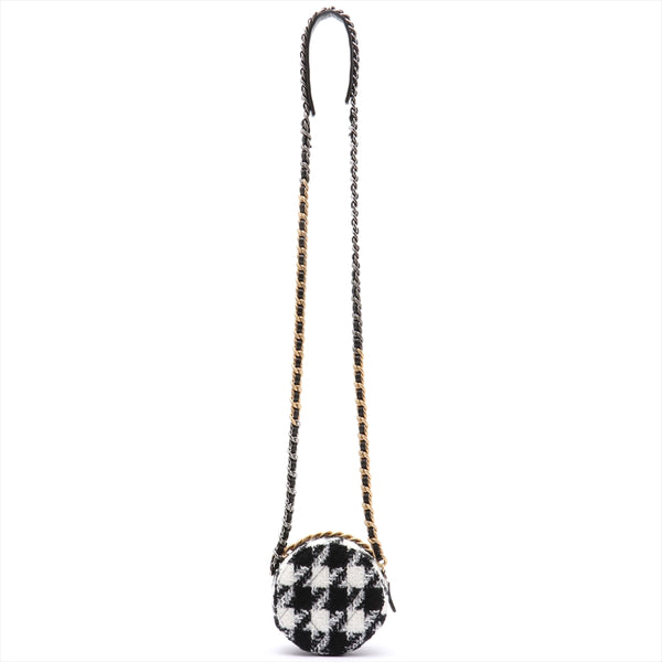 Chanel Matrasse Lambskin x Tweed ChainShoulder Bag Round Black x White Gold Metal 28 Series With Pouch