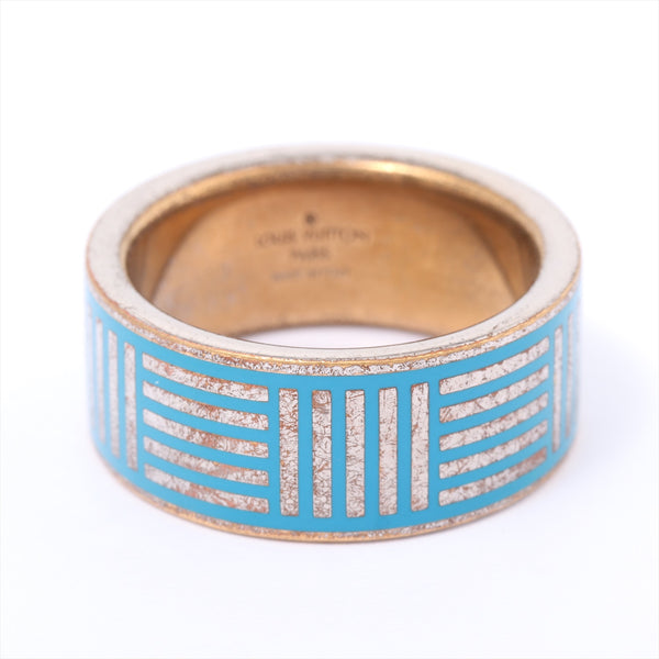 Louis Vuitton Berg Damier Colors Ring L Size Gold Plated Blue M62660|RANK:B