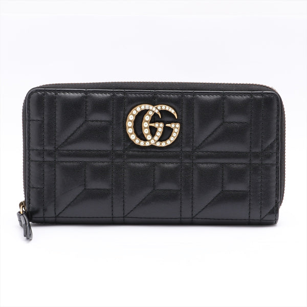 Gucci GG Marmont 443123 Leather Round Zip Wallet Black Internal Dust Angle Rubberd Small