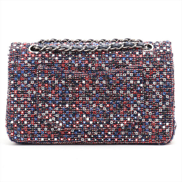 Chanel COCO Mark Tweed Double Flap Double Chain Bag Rhinestone Multicolor SilverMetal 22 Series
