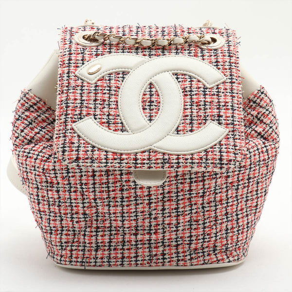 Chanel COCO Mark Tweed x Leather ChainBackpack Multicolor Gold Metal 27 Series