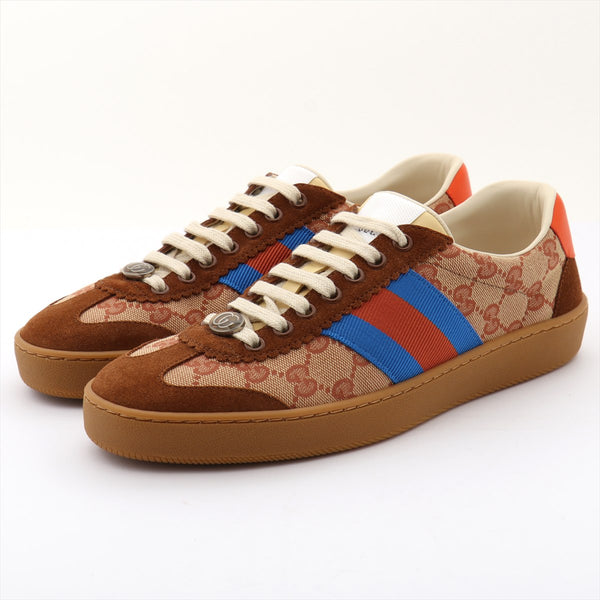 Gucci GG Canvas 19AW Suede Sneakers 6 Mens Brown Webline