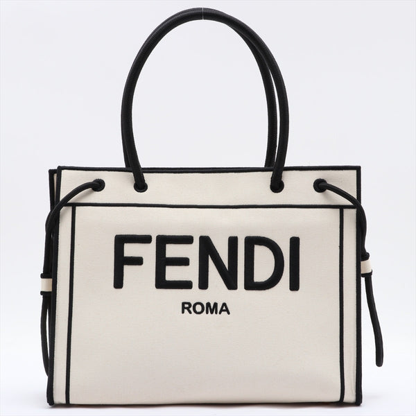 Fendi Canvas Tote Bag White 8BH378|RANK:AB