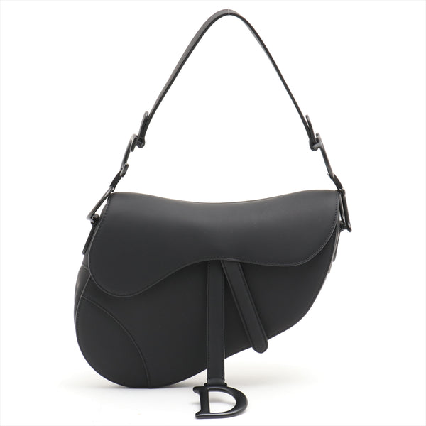 Christian Dior Saddle Bag Leather Shoulder Bag Black
