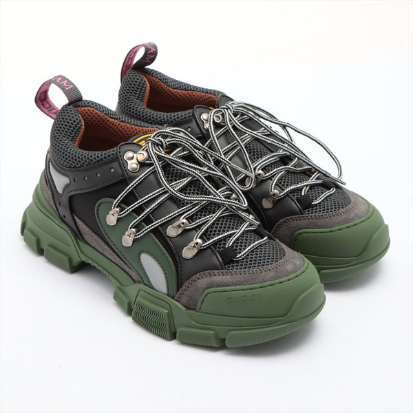 Gucci Flash Trek Suede x Canvas Sneakers 5 2/1 Men's Green x Black|RANK:A