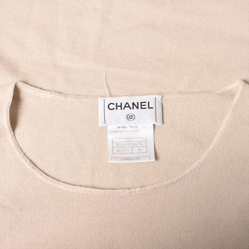 Chanel 00A cashmere short sleeve knit 38 ladies beige logo|RANK:B