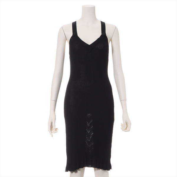 Chanel 97P Rayon Knit Dress 38 Ladies Black