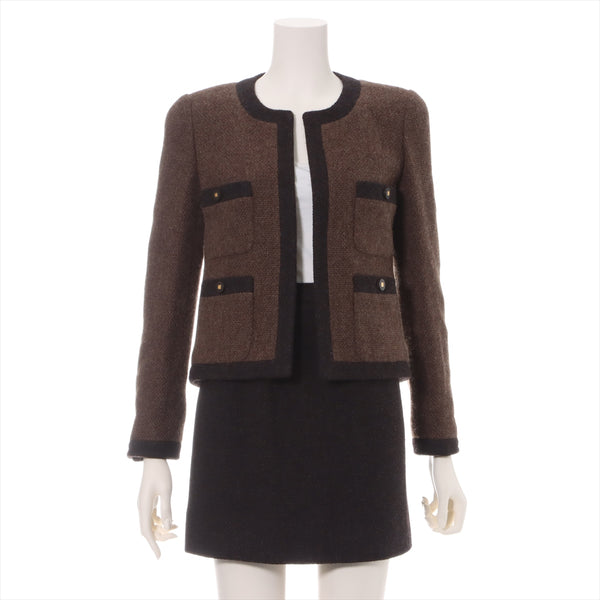 Chanel COCO Button 96A Tweed Setup 36 Ladies Brown