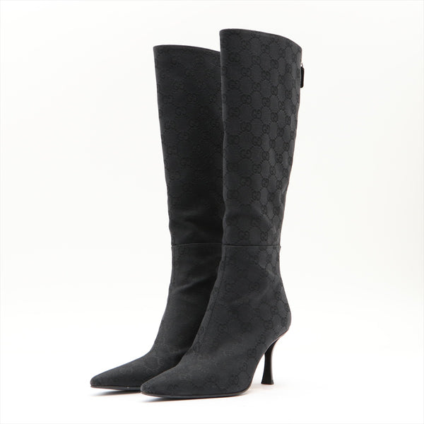 Gucci GG Canvas Long Boots 34.5 Ladies Black