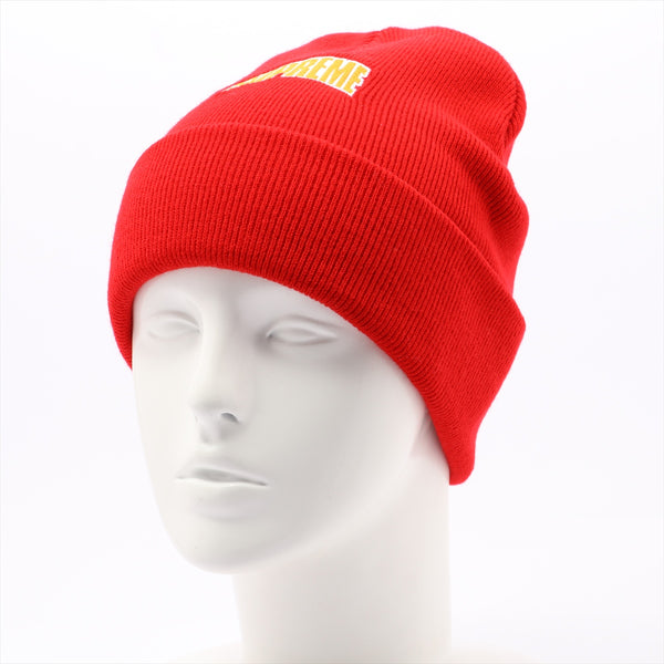 Supreme knit cap acrylic red logo embroidery