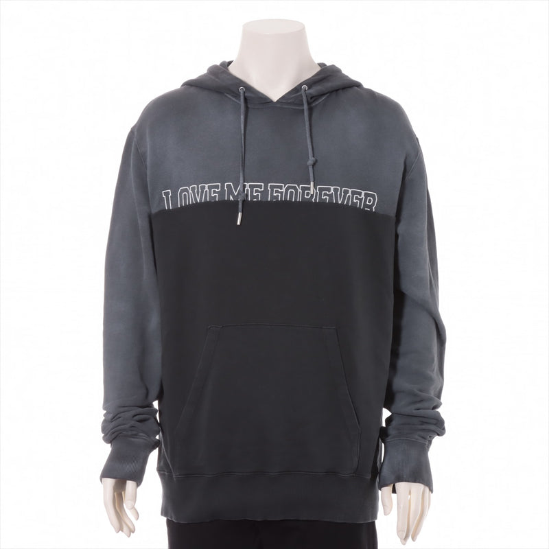 Saint Laurent Paris 17AW Cotton Hoodie M Men's Gray Vintage Processing LOVE ME FOREVER