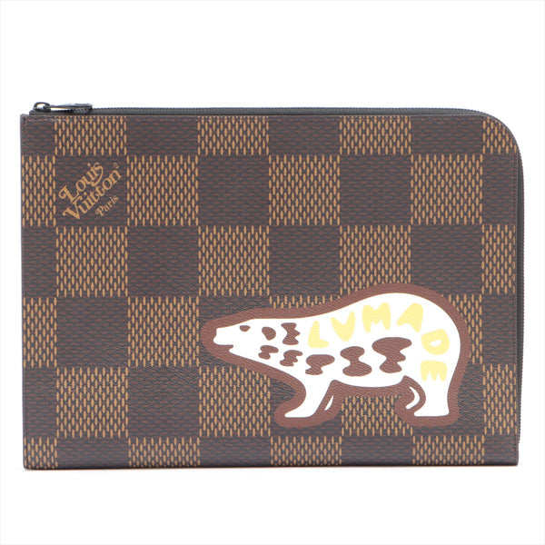 Louis Vuitton x NIGO Damier Giant Pochette Jules GM N60390 Brown TY3230