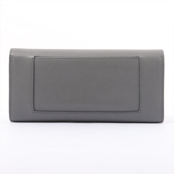 Celine Large Flap Multifunction Leather Wallet Gray|RANK:B