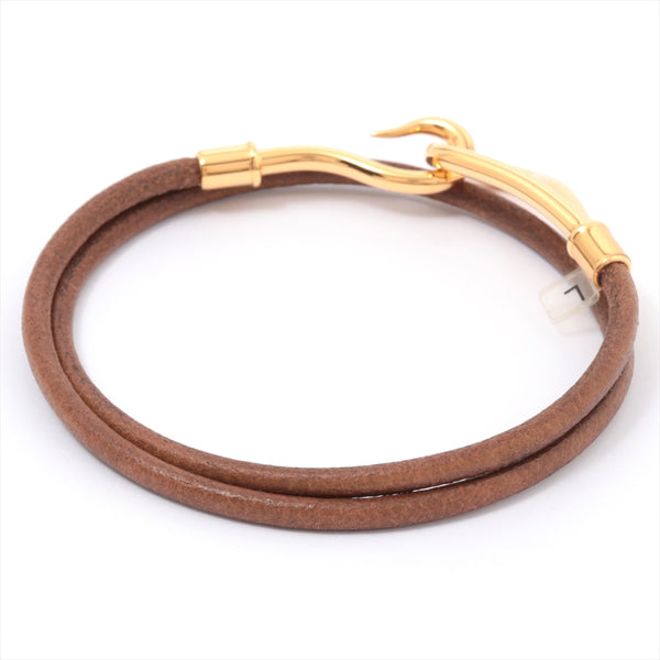 Hermes Jumbo Bracelet Leather Brown Gold Metal