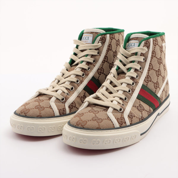 Gucci Canvas High Top Sneakers 5+ Unisex Beige 625807 GG Canvas Tennis 1977