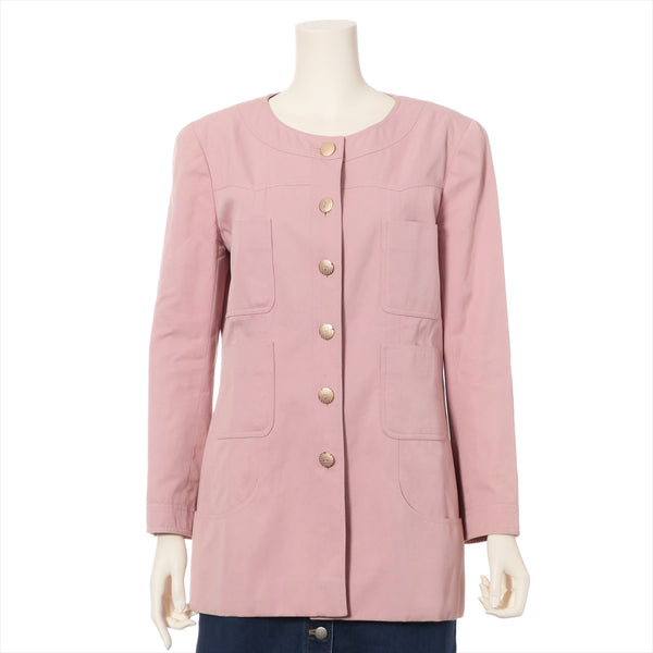 Chanel Cotton Collarless Jacket 42 Ladies Pink 02P COCO Mark Button|RANK:B