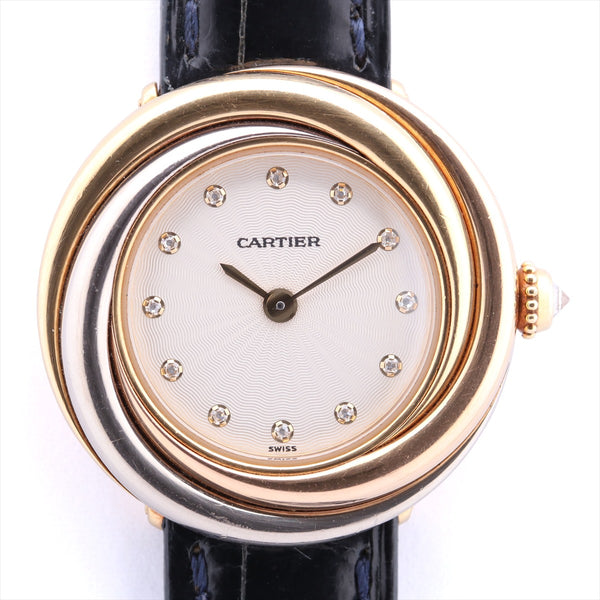 Cartier Trinity WG200256 750x Leather QZ White Dial