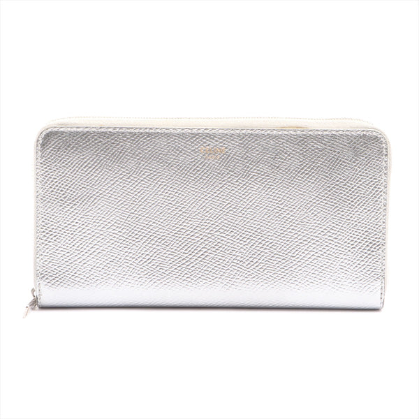 Celine Large Zip Multifunction Patent Leather Round Zip Wallet Silver